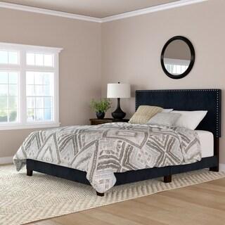 Handy Living Megan Navy Blue Velvet Upholstered Queen Bed