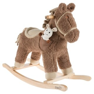 Rocking Horse Ride-on Toy with Friend-Childrens Soft Fabric Covered Wooden Rocker-Adorable Neutral Design-Fun by Happy Trails