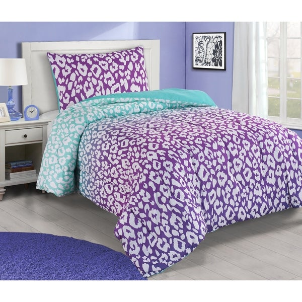Asher Home Jungle Purple and Teal Leopard 3-piece Comforter Set 35465760