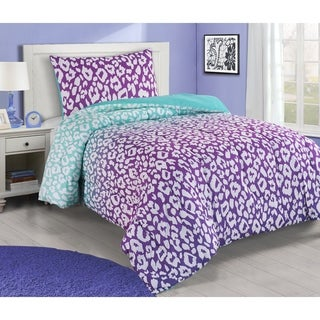 Asher Home Jungle Purple and Teal Leopard 3-piece Comforter Set