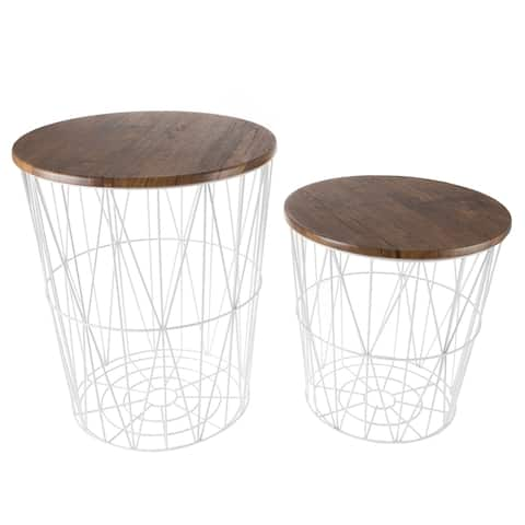 Nesting End Tables with Storage- Set of 2 Convertible Round Metal Basket Faux Wood Top Accent Side Tables By Lavish Home