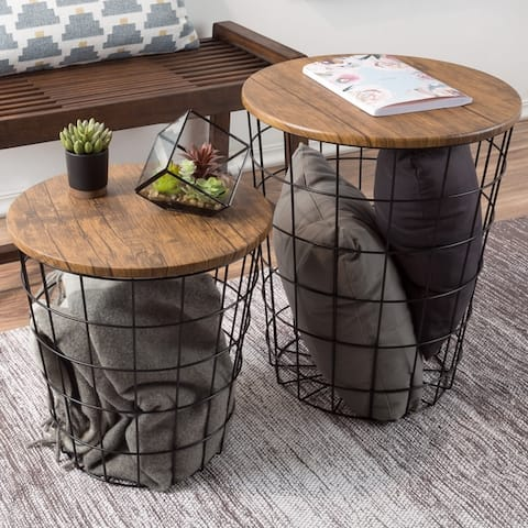 Lavish Home Faux Wood Nesting End Tables with Storage (Set of 2)