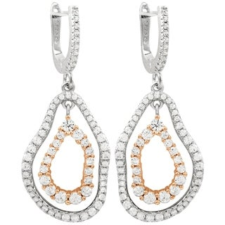 Luxiro Sterling Silver Two-tone Finish Pave Cubic Zirconia Women's Double Open Oval Earrings - N/A