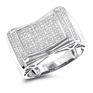 Pave Diamond Ring for Men 10k Rose, White or Yellow Gold 0.5ctw by Luxurman