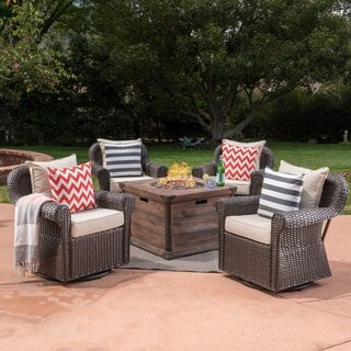 Blanca Outdoor 5 Piece Wicker Swivel Club Chair with Aluminum Frame and Fire Pit Set by Christopher Knight Home