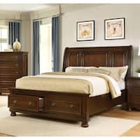 Best Master Furniture Dark Cherry Pine Wood Queen-size Platform Bed