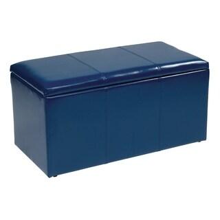 3 Piece Eco Leather Storage Ottoman Set in Blue
