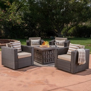 Wainright Outdoor 5 Piece Wicker Swivel Club Chair and Fire Pit Set by Christophe Knight Home