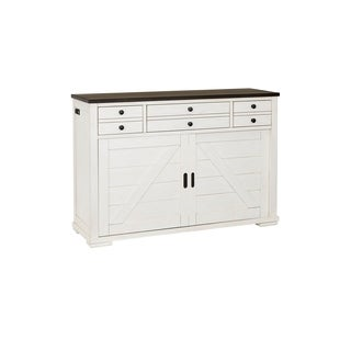 Progressive Postiano White and Walnut Rubberwood Sideboard