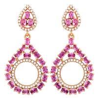 Luxiro Sterling Silver Rose Gold Finish Lab-created Ruby Gemstones Open Teardrop Earrings