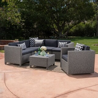 Puerta Outdoor 6 Seater Grey Wicker V-Shaped Sofa and Swivel Chair Set by Christopher Knight Home