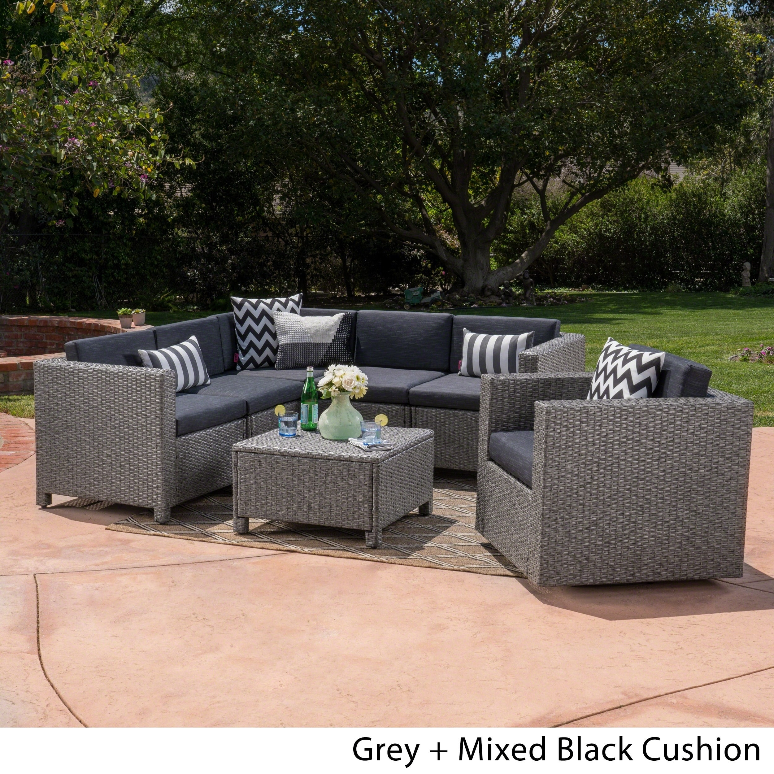 Pleasing Puerta Outdoor 6 Seater Grey Wicker V Shaped Sofa And Swivel Chair Set By Christopher Knight Home Spiritservingveterans Wood Chair Design Ideas Spiritservingveteransorg