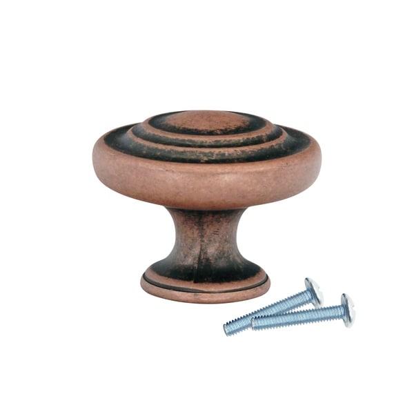 "25 Pack Saturn Ring Classic Metal Antique Copper Cabinet Knob 1-11/32"" 35467224"