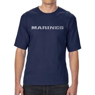 LA Pop Art Men's Tall Word Art T-shirt - LYRICS TO THE MARINES HYMN