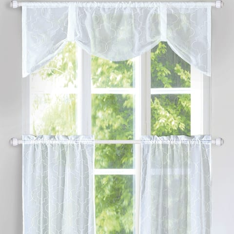 Serenta Kitchen Curtain 3 Pieces Set (Rod Pocket Tier Pair / Valance)