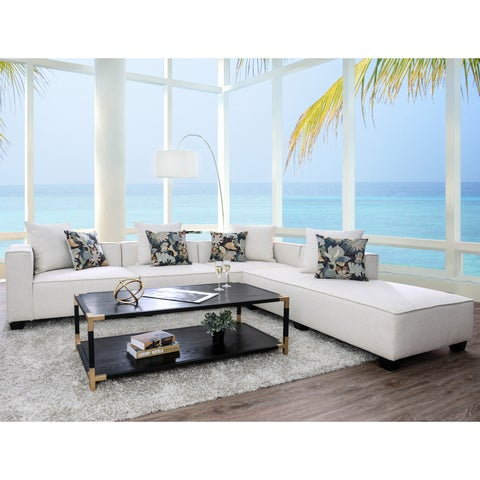 Furniture of America Werner Beige Faux Linen Sectional Sofa
