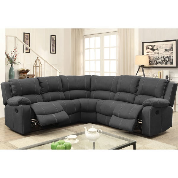 Furniture of America Fild Transitional Grey Reclining Sectional Sofa