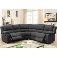 Furniture of America Raulson Grey Nubuck Fabric Sectional Sofa