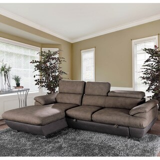 Furniture of America Adana Brown Faux Nubuck Sectional Sofa Sleeper