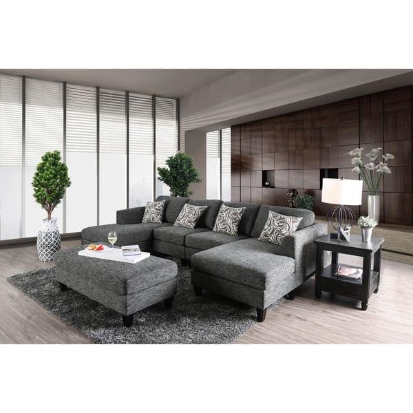 Fine Breckenridge Grey 4 Piece Chenille Modular Sectional Sofa By Foa Machost Co Dining Chair Design Ideas Machostcouk