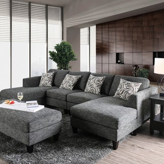 Furniture of America Breckenridge Grey 4-piece Chenille Modular Sectional Sofa