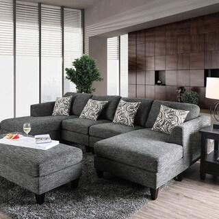 Furniture Of America Breckenridge Grey 4 Piece Chenille Modular Sectional  Sofa