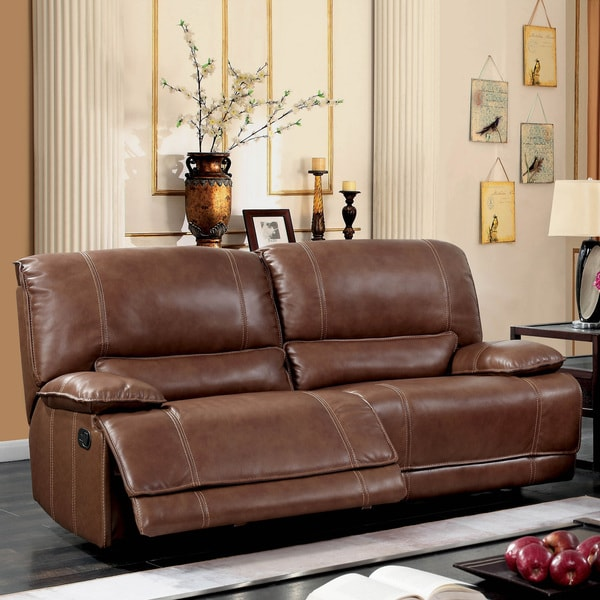 Furniture of America Gika Transitional Brown Leather Reclining Sofa