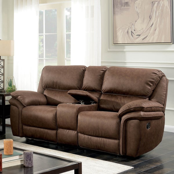 Furniture of America Tazy Transitional Brown Fabric Reclining Loveseat