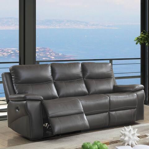 Furniture of America Yail Transitional Grey Power Reclining Sofa