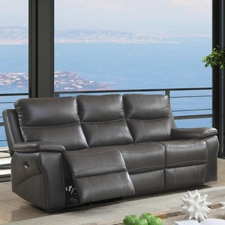 Furniture of America Yail Transitional Grey Power Reclining Sofa