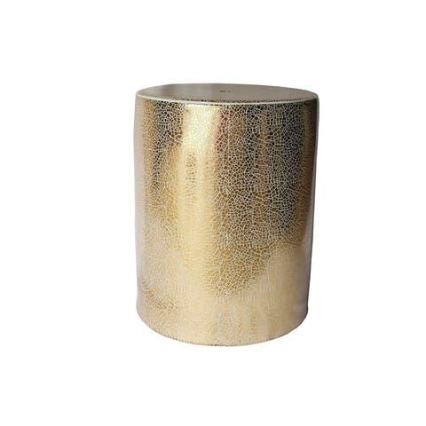 Sagebrook Home 13168-01 Ceramic Garden Stool, White/Gold Ceramic, 13.5 x 13.5 x 18 Inches