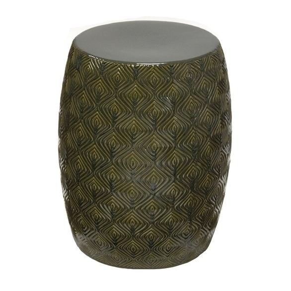 Sagebrook Home FC10256 01 Ceramic Garden Stool, Olive Ceramic, 14.5 X 14.5 X