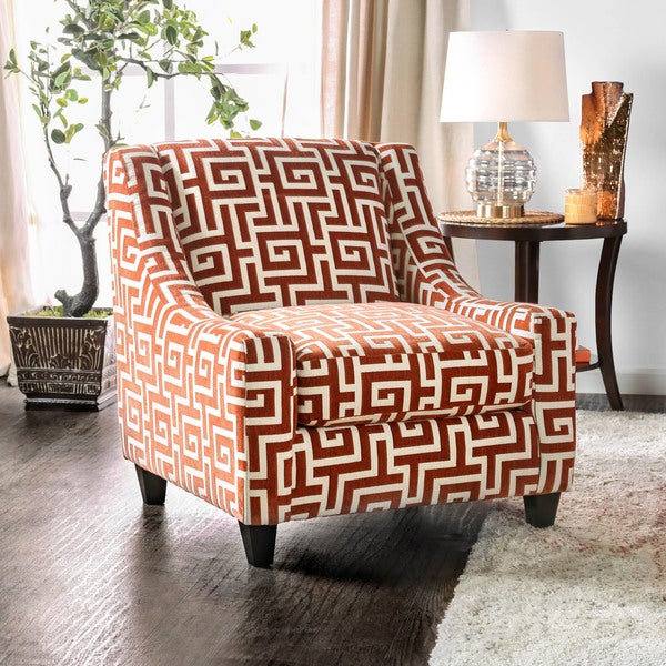 Black And White Greek Key Accent Chair: Shop Furniture Of America Leto Contemporary Orange Fabric