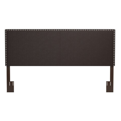 Handy Living Megan Brown Faux Leather Upholstered King Headboard