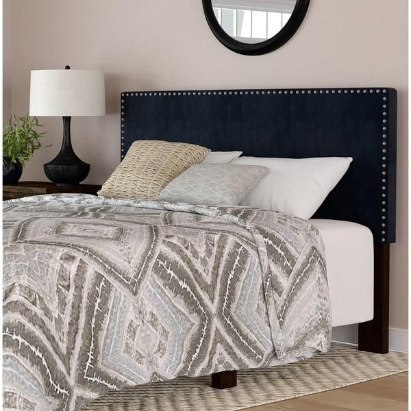 Shop Handy Living Megan Navy Blue Velvet Upholstered King