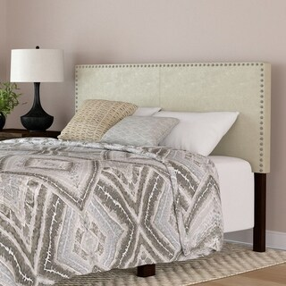 Handy Living Megan Cream Faux Leather Upholstered Queen Headboard