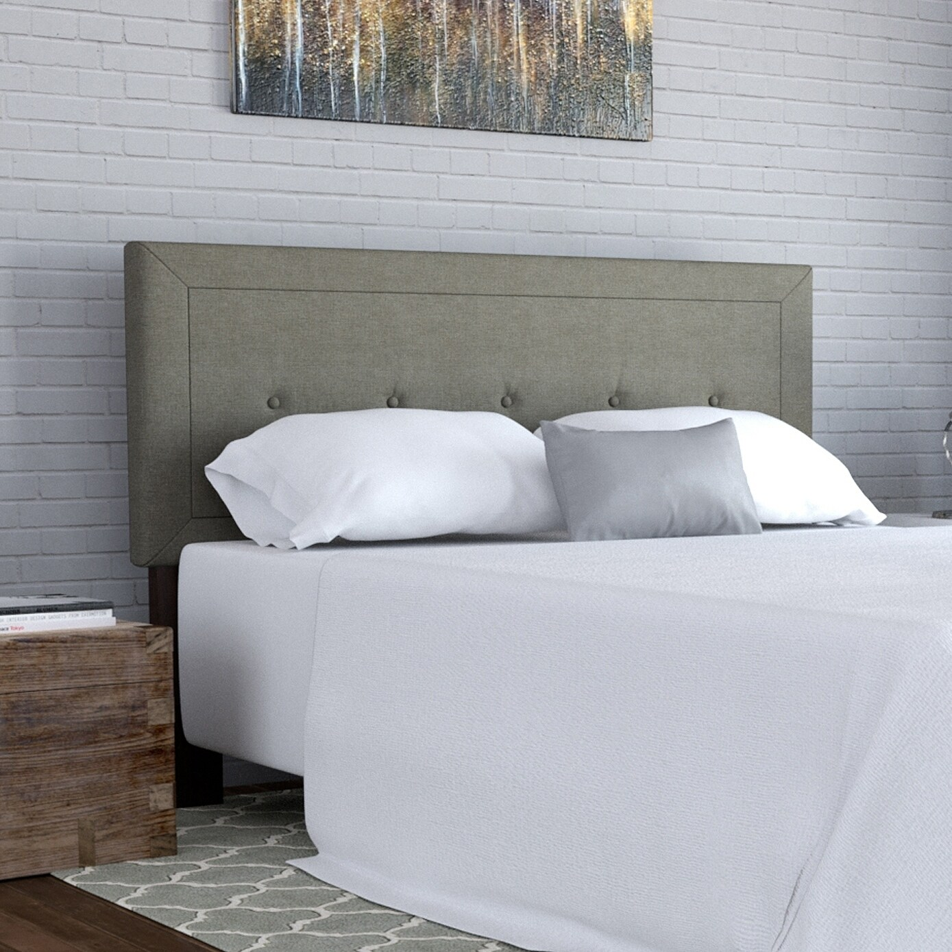 Superbe Details About Handy Living Kaylee Grey Button Tufted Upholstered Queen  Headboard