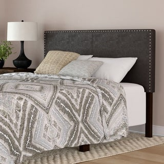 Handy Living Megan Brown Faux Leather Upholstered Queen Headboard