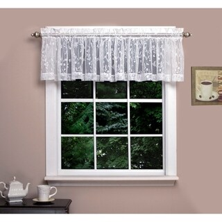 "Isabella Lace Valance, Soft Light Filtering Butterfly Motif, Rod Pocket Panel Top, Two to One Fullness. - 54"" x 14"""