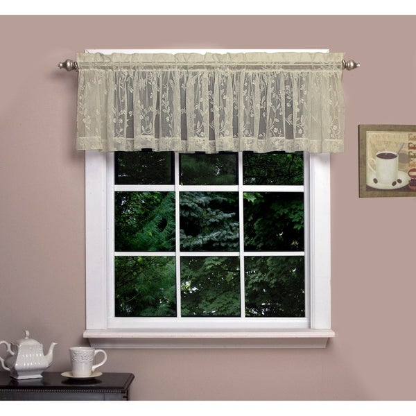 """Isabella Lace Valance, Soft Light Filtering Butterfly Motif, Rod Pocket Panel Top, Two to One Fullness. - 54"""" x 14"""""""