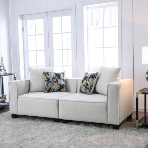Furniture of America Batz Contemporary Beige Fabric Modular Loveseat