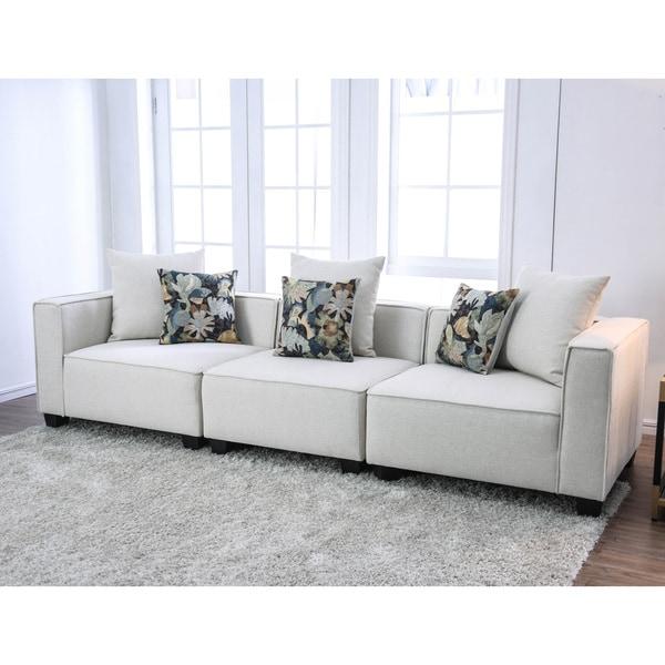 Furniture of America Batz Contemporary Beige Fabric Modular Sofa