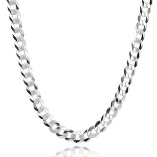Mondevio Italian 4mm Diamond-Cut 925 Silver Cuban Curb Link Chain Necklace, 18-30 Inch
