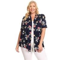 Women's Plus Size Floral Pattern Cardigan