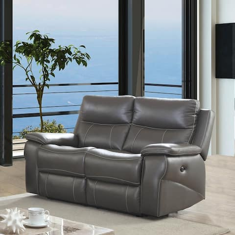 Furniture of America Yail Transitional Grey Power Reclining Loveseat