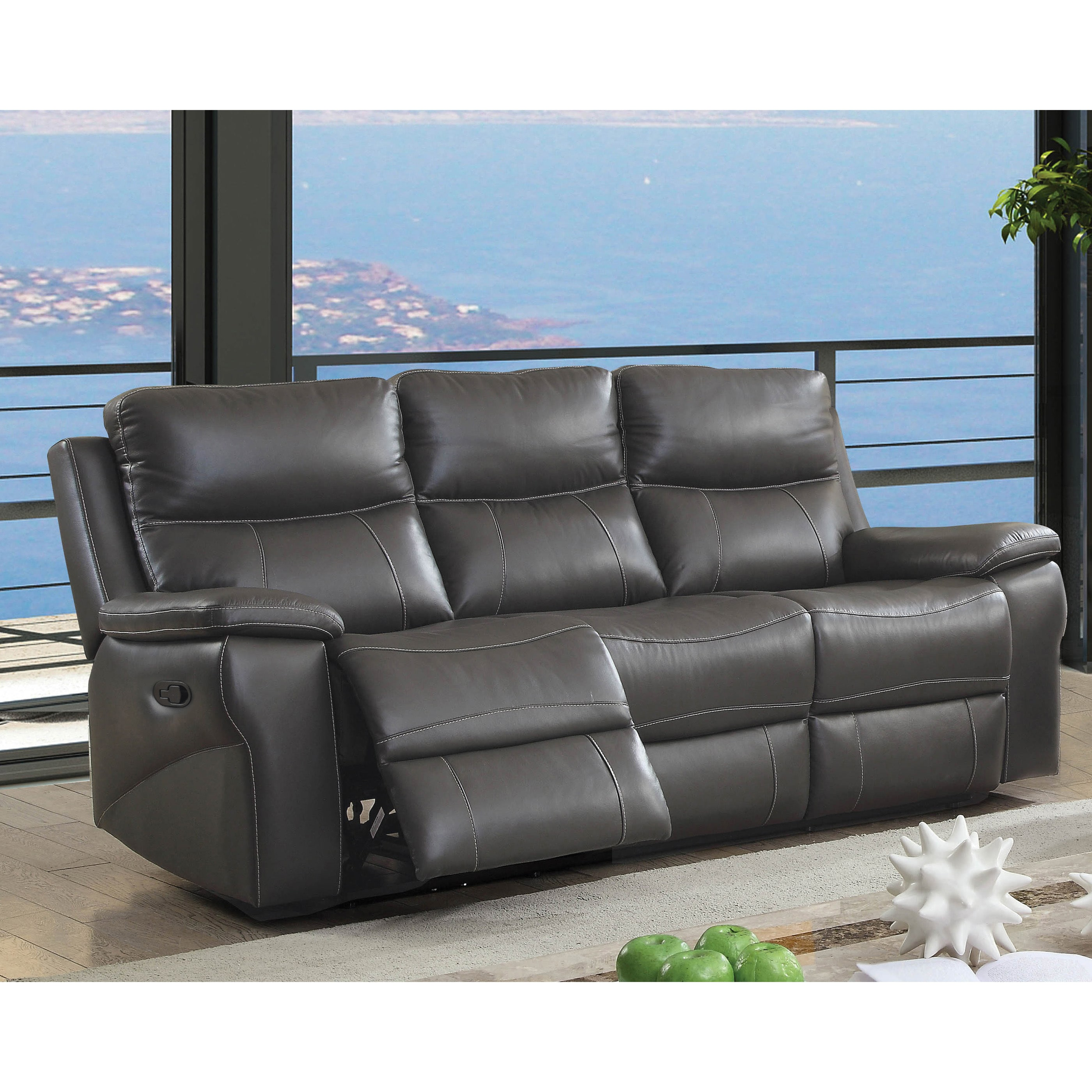Furniture Of America Yail Transitional Grey Leather Reclining Sofa