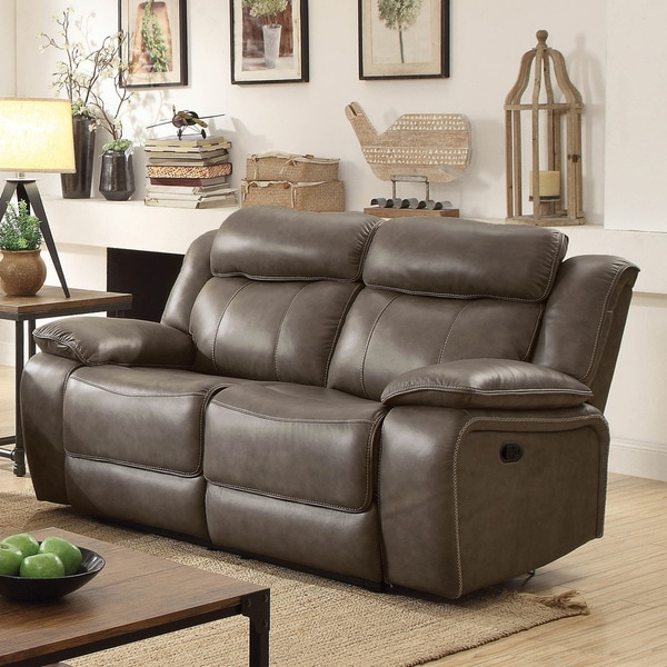 Furniture of America Quex Contemporary Grey Leather Loveseat