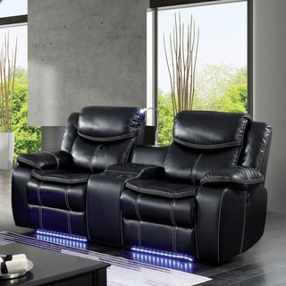 Furniture of America Nic Transitional Black Power Reclining Loveseat