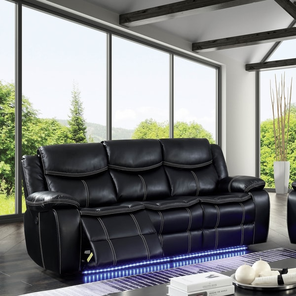 Leather Sofas Nyc: Shop Furniture Of America Nic Transitional Black Usb Power