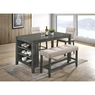 Best Quality Furniture Rustic Gray 4-Piece Counter Height Dining Set with 3-Shelf Storage